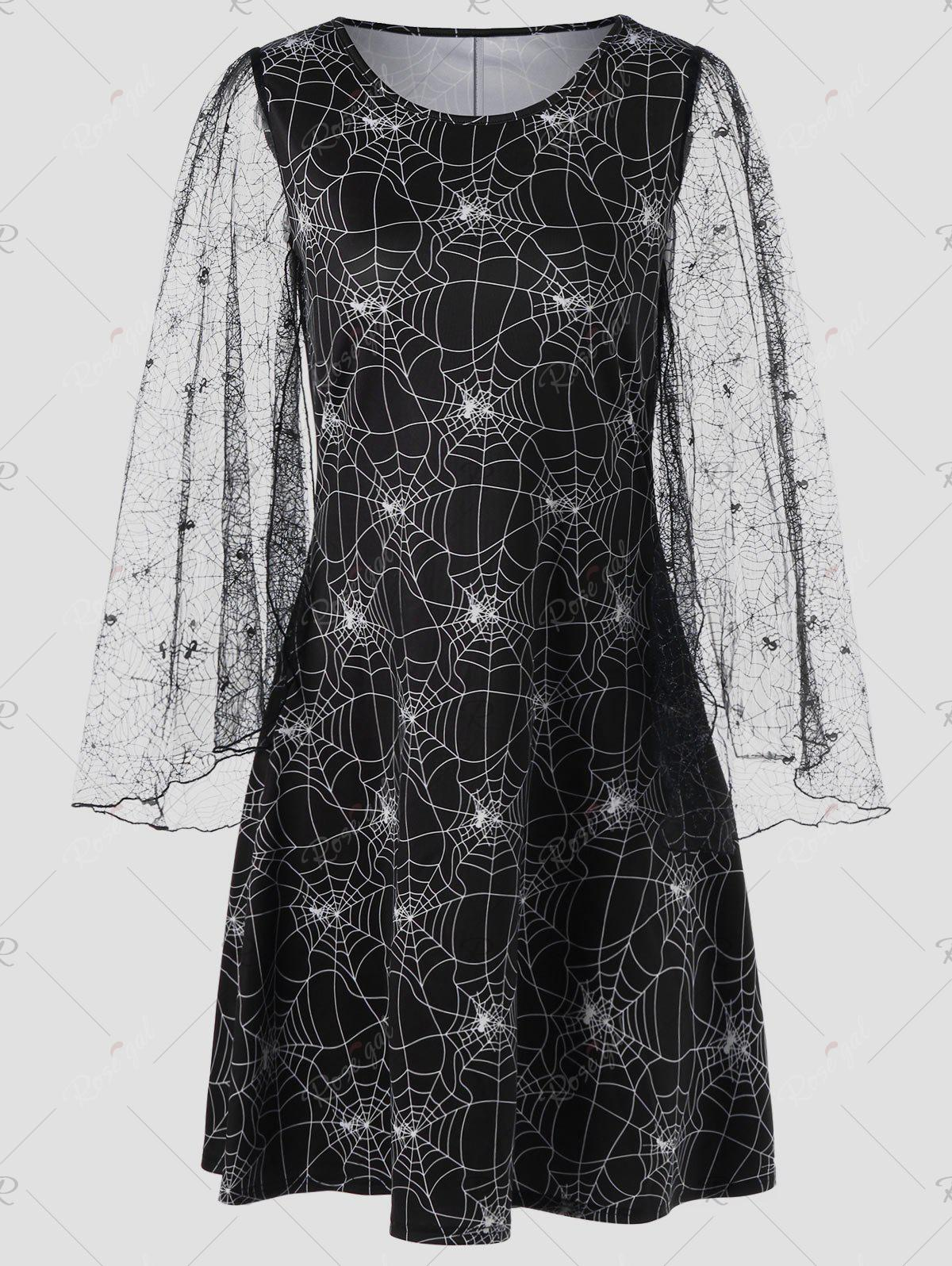 Halloween Sheer Plus Size Spider Web DressWOMEN<br><br>Size: 4XL; Color: BLACK; Style: Novelty; Material: Polyester; Silhouette: A-Line; Dresses Length: Knee-Length; Neckline: Round Collar; Sleeve Length: Long Sleeves; Pattern Type: Others; With Belt: No; Season: Fall,Spring; Weight: 0.3500kg; Package Contents: 1 x Dress;