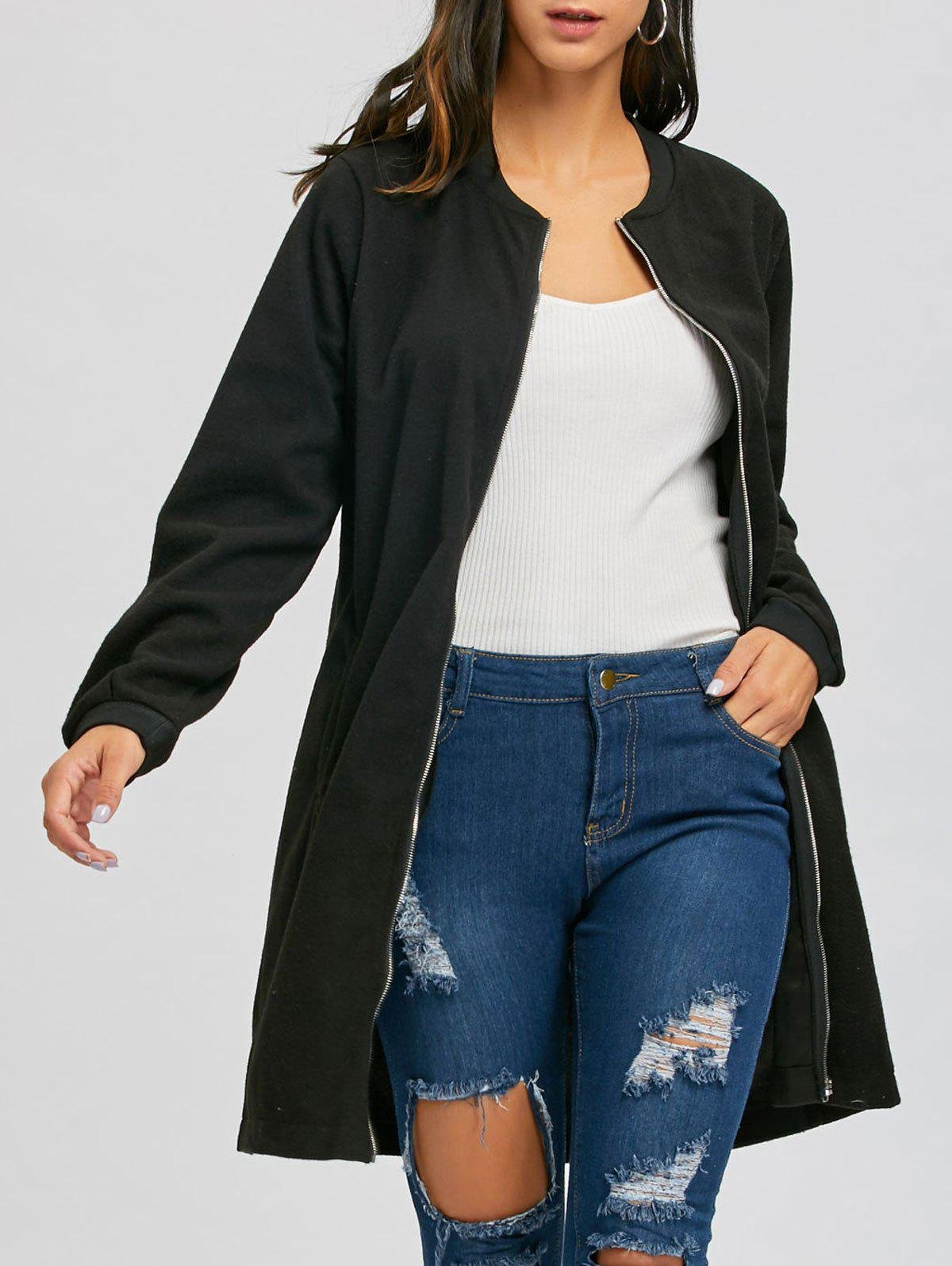 Discount Slim Fit Zip Up Long Coat