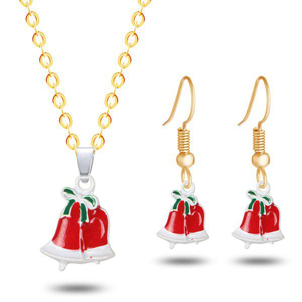 Christmas Bowknot Bells Necklace with EarringsJEWELRY<br><br>Color: GOLDEN; Item Type: Pendant Necklace; Gender: For Women; Necklace Type: Link Chain; Style: Trendy; Shape/Pattern: Bowknot; Length: 50CM (Necklace); Weight: 0.0300kg; Package Contents: 1 x Necklace 1 x Earring (Pair);
