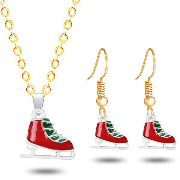 Christmas Skate Necklace with EarringsJEWELRY<br><br>Color: GOLDEN; Item Type: Pendant Necklace; Gender: For Women; Necklace Type: Link Chain; Style: Trendy; Shape/Pattern: Geometric; Length: 50CM (Necklace); Weight: 0.0300kg; Package Contents: 1 x Necklace 1 x Earring (Pair);