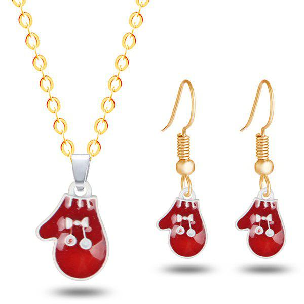 Christmas Bowknot Glove Necklace with EarringsJEWELRY<br><br>Color: GOLDEN; Item Type: Pendant Necklace; Gender: For Women; Necklace Type: Link Chain; Style: Trendy; Shape/Pattern: Bowknot; Length: 50CM (Necklace); Weight: 0.0300kg; Package Contents: 1 x Necklace 1 x Earring (Pair);