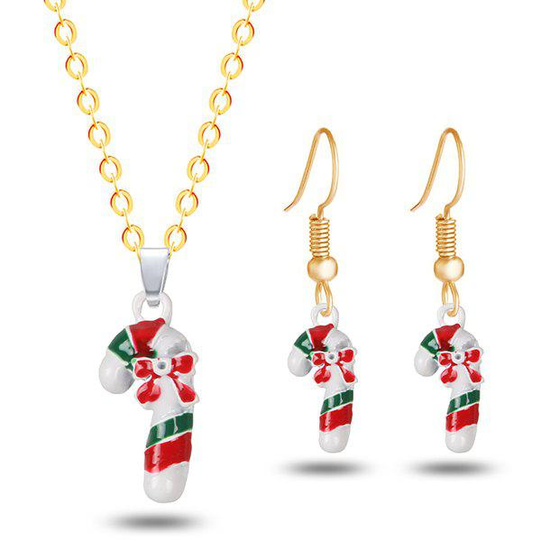 Shop Bows Christmas Candy Cane Necklace and Earrings