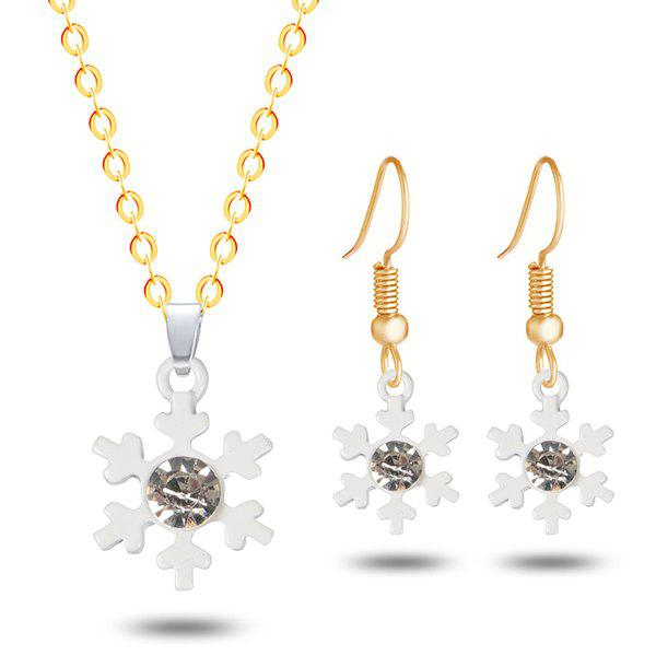 Rhinestone Snowflake Christmas Necklace and EarringsJEWELRY<br><br>Color: GOLDEN; Item Type: Pendant Necklace; Gender: For Women; Necklace Type: Link Chain; Style: Trendy; Shape/Pattern: Floral; Length: 50CM (Necklace); Weight: 0.0300kg; Package Contents: 1 x Necklace 1 x Earring (Pair);