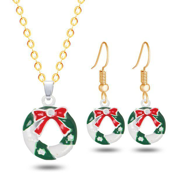 Christmas Wreath Bows Necklace and EarringsJEWELRY<br><br>Color: GOLDEN; Item Type: Pendant Necklace; Gender: For Women; Necklace Type: Link Chain; Style: Trendy; Shape/Pattern: Round; Length: 50CM (Necklace); Weight: 0.0200kg; Package Contents: 1 x Necklace 1 x Earring (Pair);