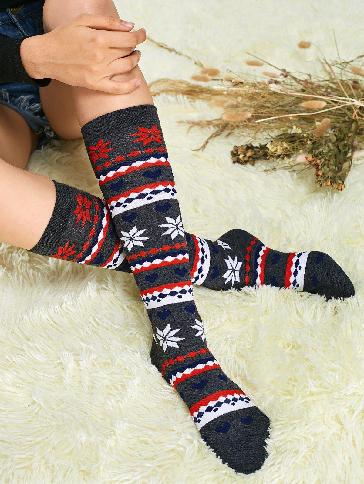 Christmas Snowflake Calf SocksACCESSORIES<br><br>Color: GRAY; Type: Socks; Group: Adult; Gender: For Women; Style: Fashion; Pattern Type: Print; Weight: 0.1500kg; Package Contents: 1 x Socks(Pair);
