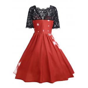 Plus Size Lace Panel Midi Father Christmas Party Dress -