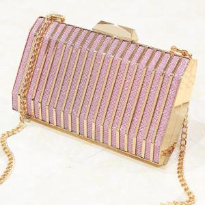 Glitter Metal Detailed Striped Evening Bag -