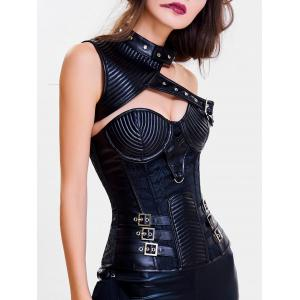 Cut Out One Shoulder Steel Boned Corset Top -