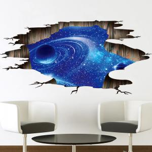 Galaxy Planet 3D Broken Floor Sticker For Bedroom -