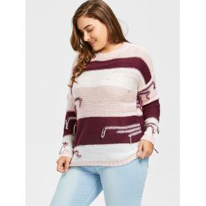 Plus Size Chunky Striped Drop Shoulder Sweater -