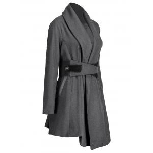Asymmetrical Plus Size Belted Skirted Coat - DEEP GRAY XL