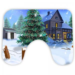 Nonslip Christmas Snowscape Pattern 3Pcs Bath Toilet Mats Set -