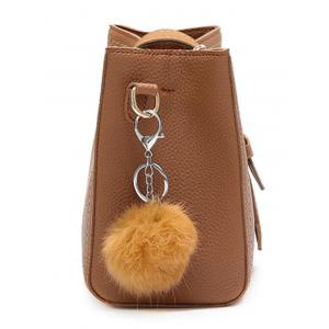 Pompom Stitching Buckle Strap Crossbody Bag -