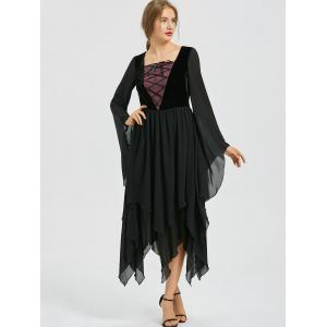 Asymmetric Flare Sleeve Lace-up Chiffon Dress -