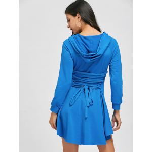 Back Lace Up High Low Hooded Dress -