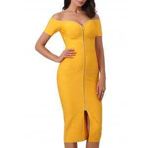 Off Shoulder Front Zip Up Bandage Dress -