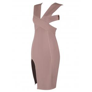 Sleevesless Plunging Neck Cut Out Bandage Dress -