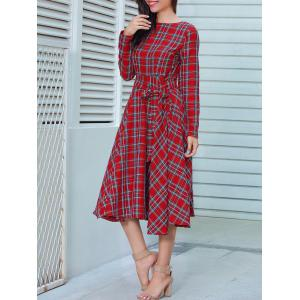 Long Sleeve Plaid Belted Midi Dress -