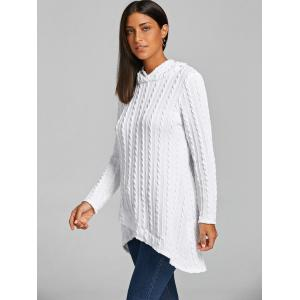 White M Cable Knitted Hooded Tunic Sweater | RoseGal.com