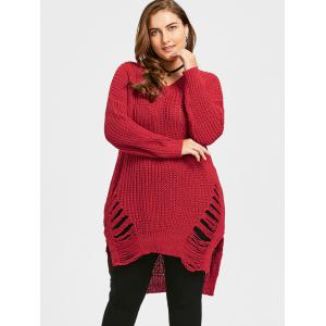 Plus Size High Low Distressed Longline Sweater -