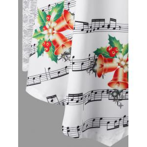 Christmas Plus Size Lace Insert Music Note Print Blouse -