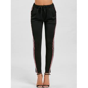Drawstring Stripe Ninth High Waist Pants -