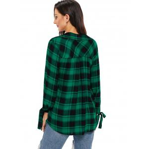 V Neck Plaid High Low Blouse -