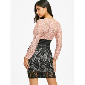 Lace Panel Plongeant Zipper Club Dress -