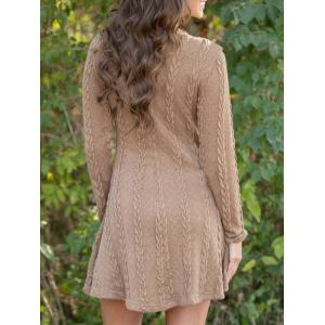 Long Sleeve Cable knit A Line Dress -