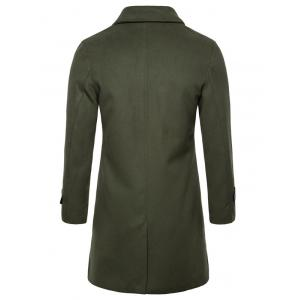 Single Breasted PU Leather Edging Woolen Coat -