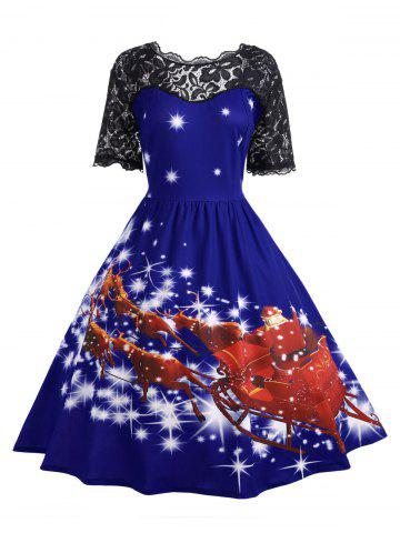 Outfits Plus Size Lace Panel Midi Father Christmas Party Dress
