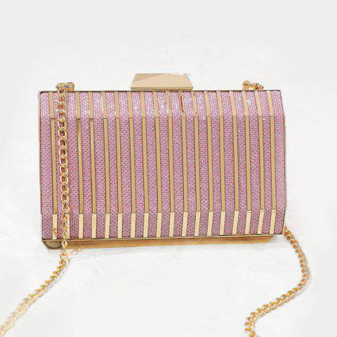 Shop Glitter Metal Detailed Striped Evening Bag