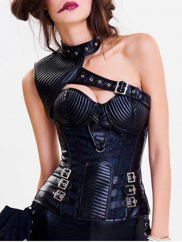 Fashion Cut Out One Shoulder Steel Boned Corset Top