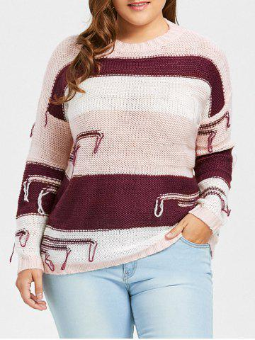 Outfit Plus Size Chunky Striped Drop Shoulder Sweater