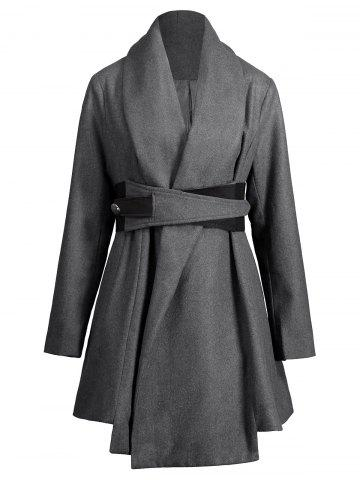 Shop Asymmetrical Plus Size Belted Skirted Coat - XL DEEP GRAY Mobile