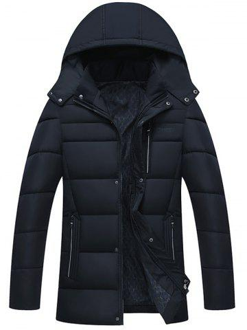 Online Zip Up Detachable Hood Padded Coat