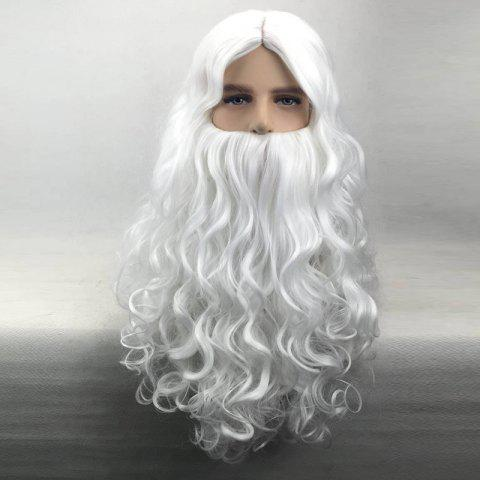Chic Long Middle Part Curly Christmas Santa Claus Wig With Beard