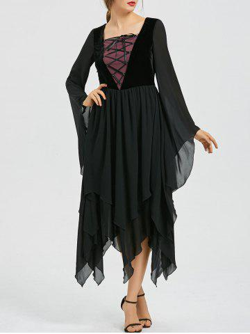 Shop Asymmetric Flare Sleeve Lace-up Chiffon Dress