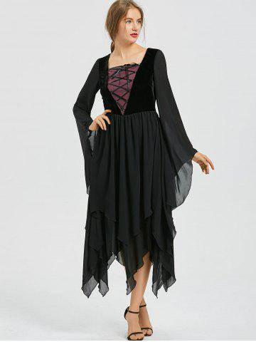 Asymmetric Flare Sleeve Lace-up Chiffon Dress