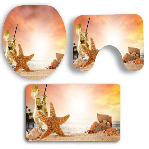 Chic 3Pcs Sunset Starfish Pattern Bath Toilet Mats Set