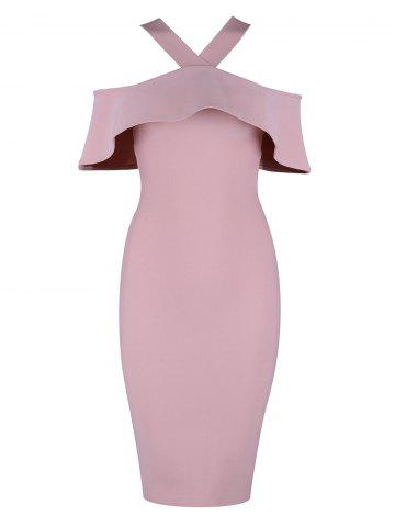 Sale Halter Knee Length Ruffle Bandage Dress