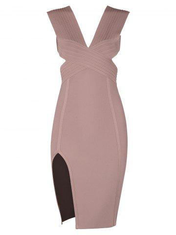 Chic Sleevesless Plunging Neck Cut Out Bandage Dress