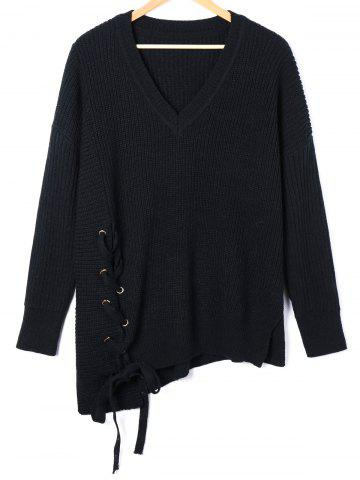Outfit Plus Size Lace Up V Neck Asymmetric Sweater