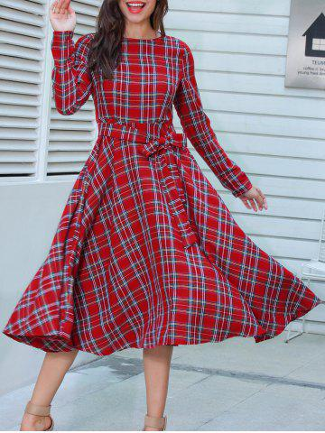 Hot Long Sleeve Plaid Belted Midi Dress