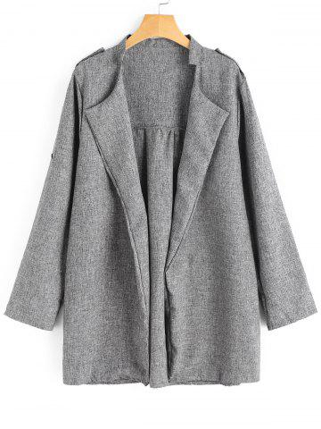 Chic Plus Size Open Front Heathered Coat