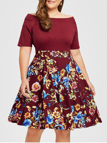 Sale Plus Size Floral Print Boat Neck Dress