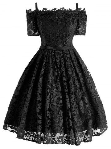 Best Lace Cold Shoulder Formal 1950 Prom Dress