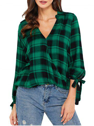 Fashion V Neck Plaid High Low Blouse