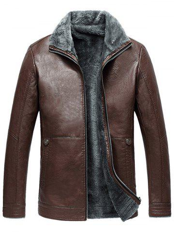 Casual Zip Up Flocking Faux Leather Jacket - BROWN - 3XL