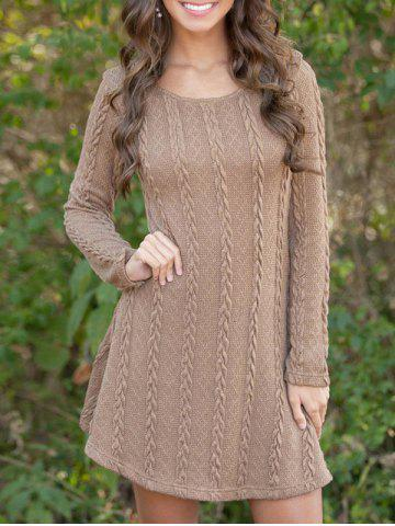 Unique Long Sleeve Cable knit A Line Dress